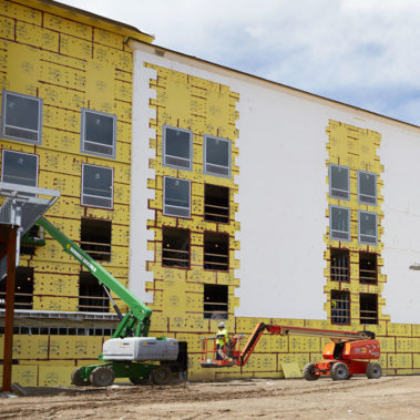 General Contractor Gordon Construction were tasked with overseeing the installation of 58,880 square feet of DensElement® Barrier System during winter months.