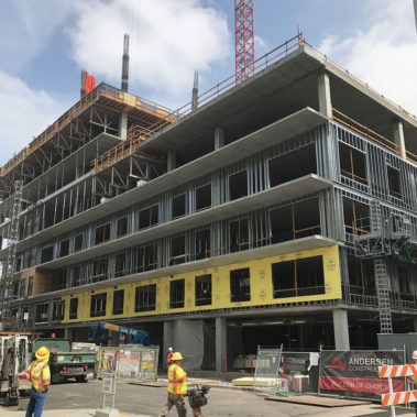 Especially valuable for the Block 20 Condominium Tower is DensElement® Barrier System's ability to negate the impact of rainy conditions during installation.