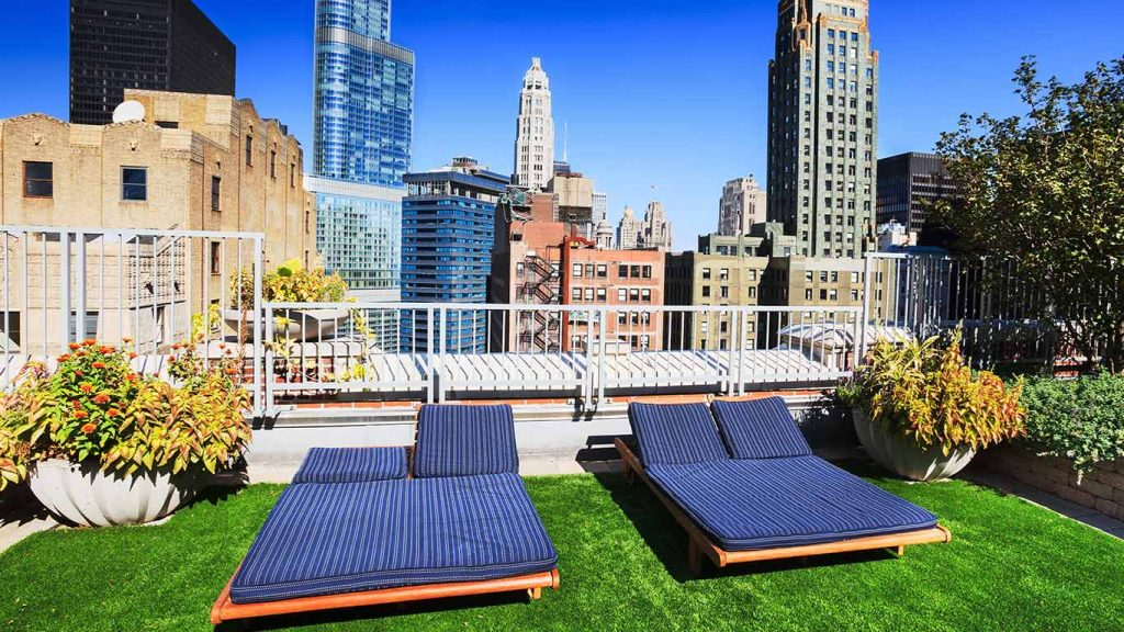 Green roofing, including rooftop oasis space for tenants is another common source of commercial building risk of damage from visitor foot traffic.
