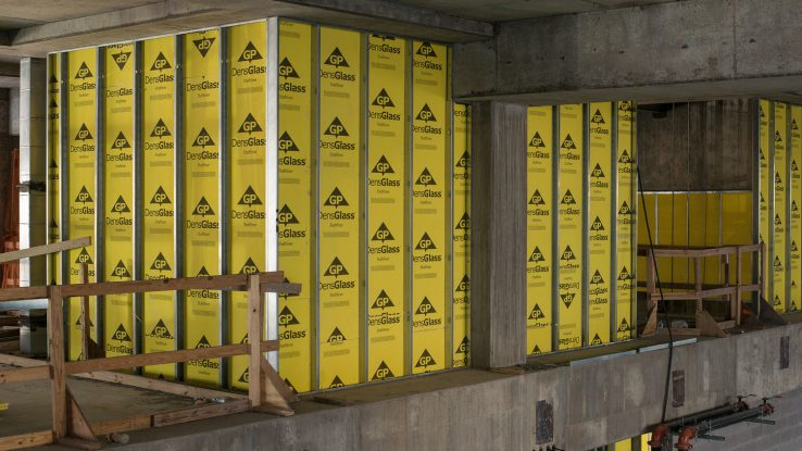 DensGlass Shaftliner Yellow Gold shaftwall, stairwell, mechanical duct and area separation wall